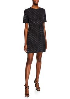 Splendid Crewneck Short-Sleeve Studded Tee Dress