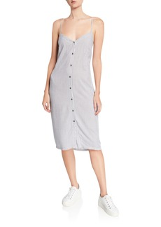 Splendid Gidget Striped Button-Front Sleeveless Dress