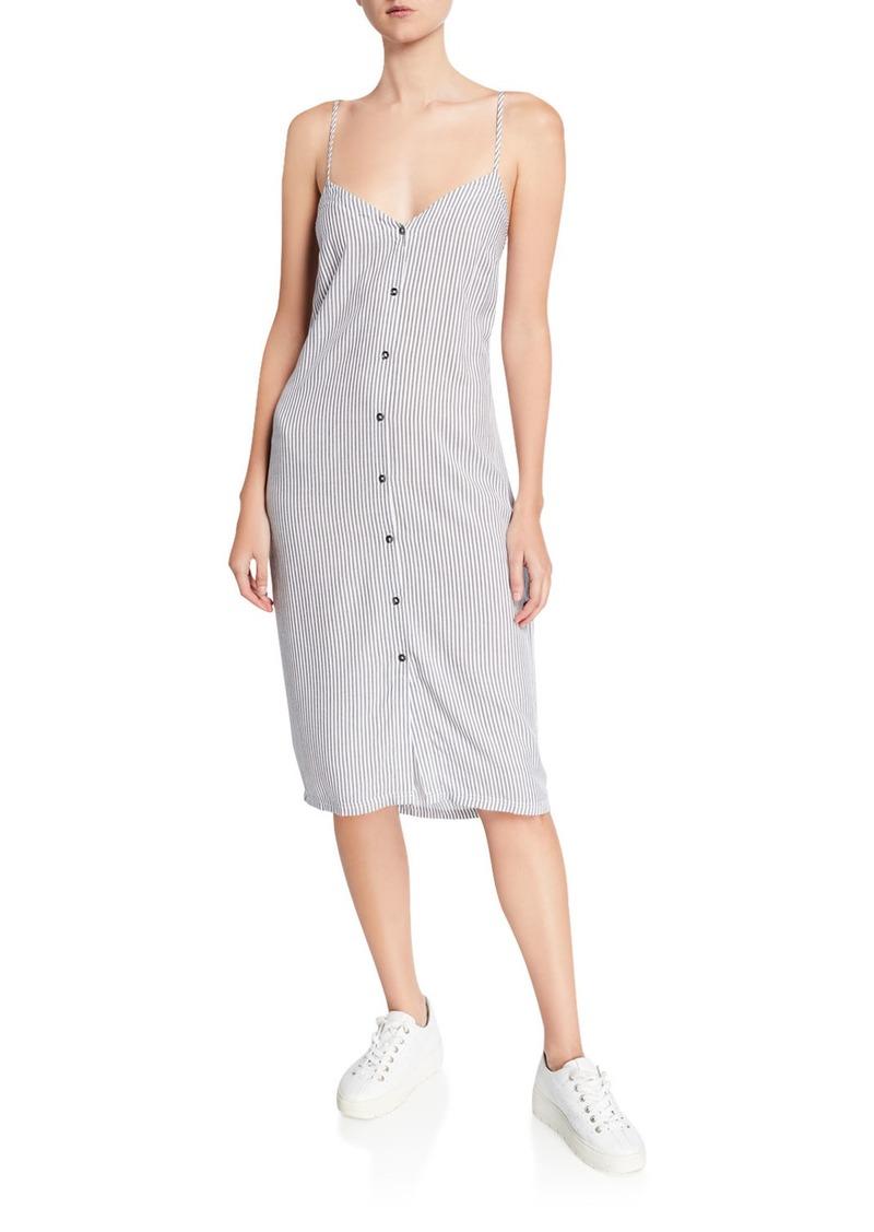 Splendid Gidget Striped Button-Front Sleeveless Dress