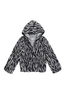 Splendid Girl's Braid Faux Fur Hooded Jacket  Size 7-14