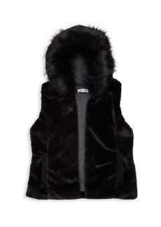 Splendid Girl's Faux Fur Hooded Vest