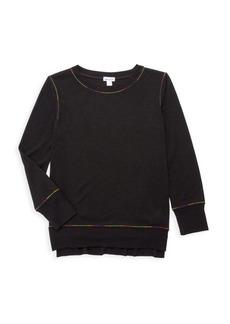 Splendid Girl's Rainbow Stitch Sweatshirt