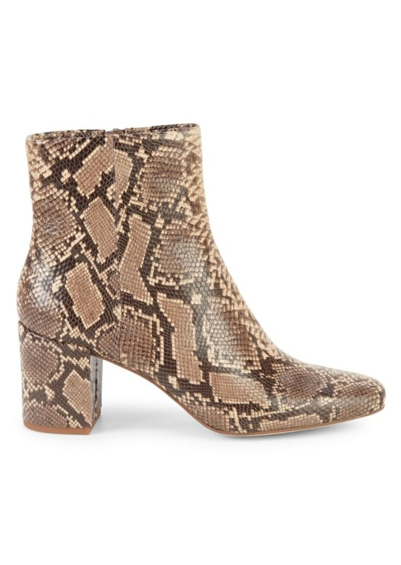 Splendid Heather III Snakeskin-Embossed Leather Booties