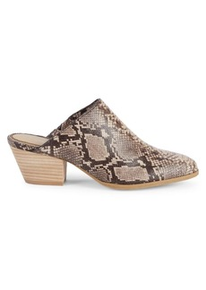 Splendid Hill II Snake-Embossed Leather Mules
