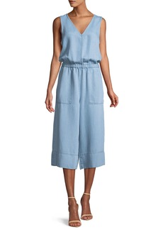 Splendid Indigo Cropped Wide-Leg Chambray Jumpsuit