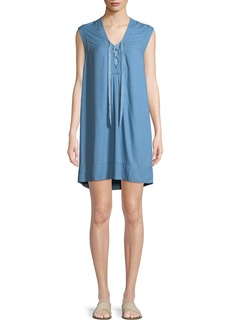Splendid Lace-Up Sleeveless Chambray Shift Dress
