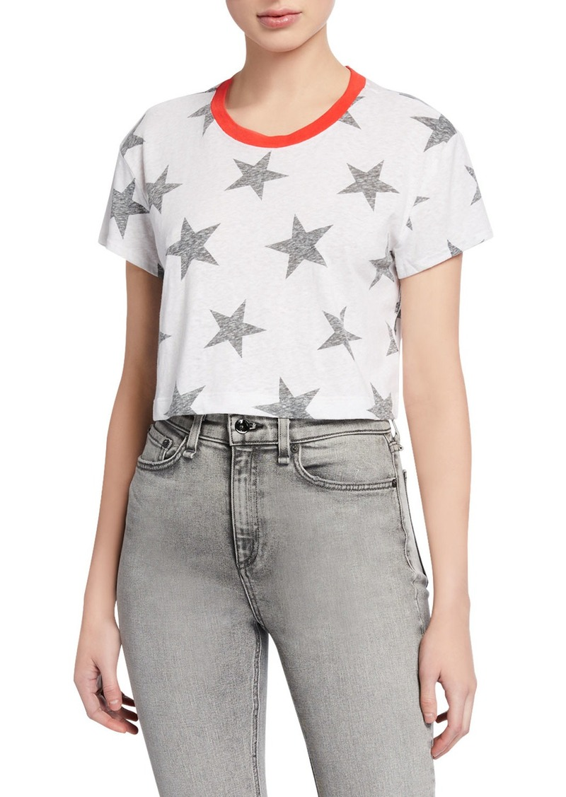 Splendid Lakeside Cropped Star-Print Tee