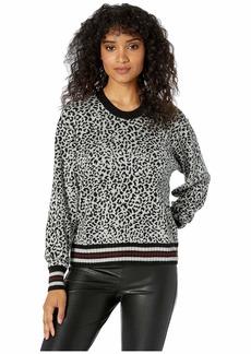 Splendid Leopard Reversible Pullover Sweater
