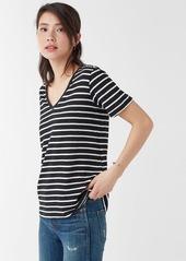 Splendid Linen Stripe V Neck Tee