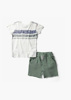 Splendid Little Boy Rverse Stripe Print Top Set