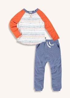 Splendid Little Boy Stripe Accent Long Sleeve Raglan Tee and Jogger Set