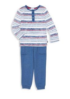 Splendid Little Boy's Two-Piece Striped Henley Shirt & Jogging Pants Set