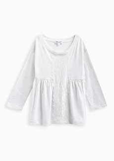 Splendid Little Girl Long Sleeve Top with Lace Insert