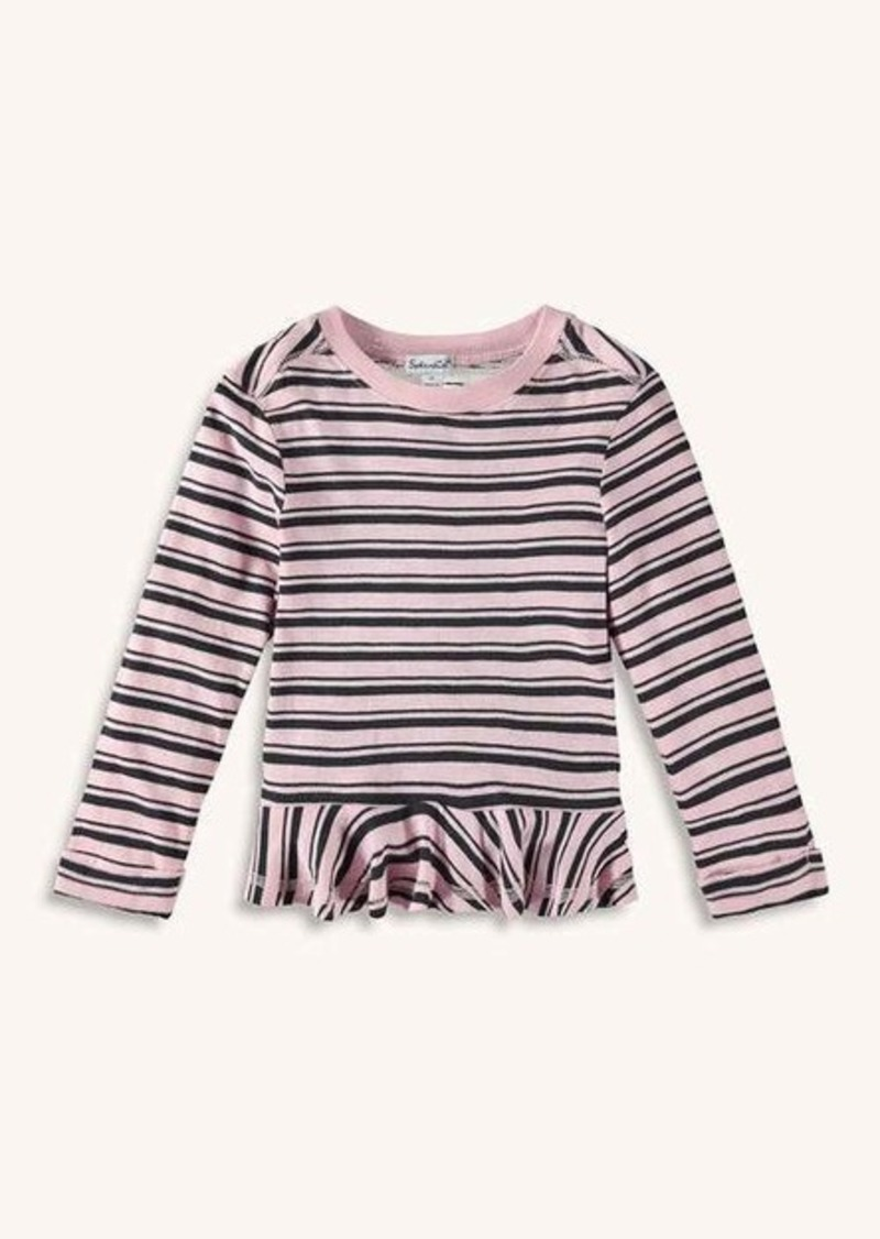 Splendid Little Girl Stripe Tee with Ruffle