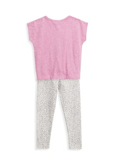 Splendid Little Girl's 2-Piece Slub T-Shirt & Leopard Print Legging Set