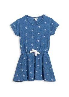 Splendid Little Girl's Ditsy Palm Tree Drawstring Denim Dress