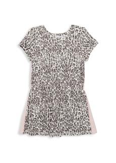 Splendid Little Girl's Leopard Print Racing Stripe A-Line Dress