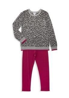 Splendid Little Girl's Leopard Print Sweater & Legging Set
