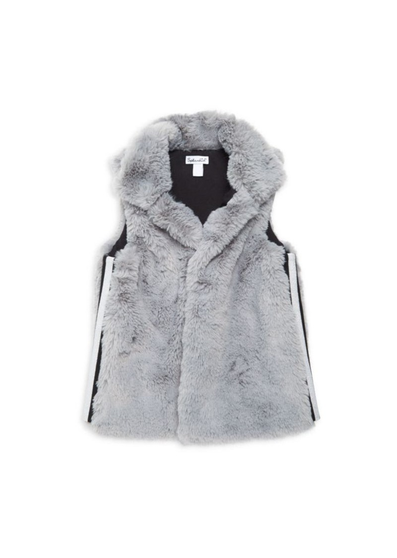 Splendid Little Girl's Lurex Stripe Faux Fur Vest