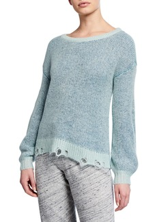 Splendid Marina Frayed Crewneck Pullover Sweater