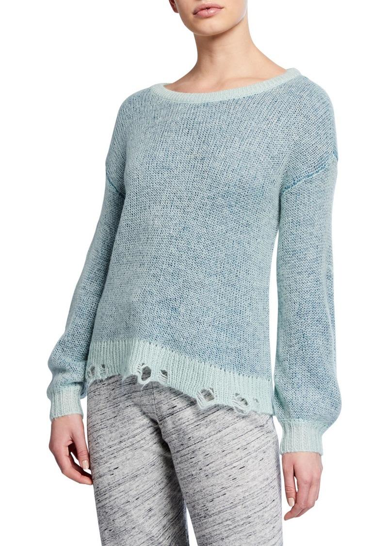 Splendid Marina Frayed Crewneck Pullover Sweater