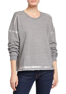 Splendid Metallic-Trim Crewneck Pullover Sweatshirt