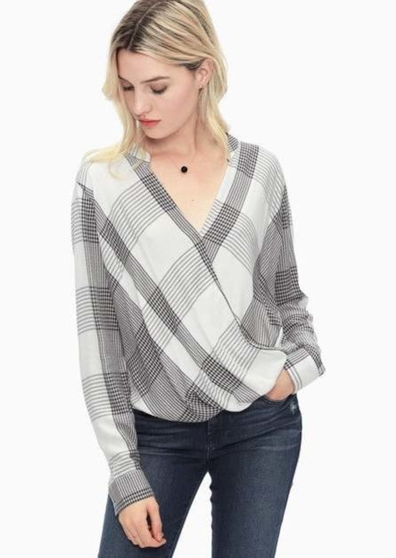 Splendid Murray Plaid Surplice Top