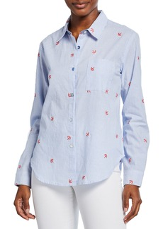 Splendid Nantucket Striped Button-Down Shirt with Embroidered Details