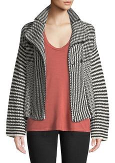 Splendid Onyx Striped Knit Sweater Jacket