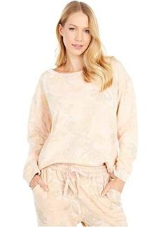 Splendid Palm Printed Long Sleeve Pullover Sweater