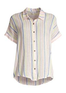 Splendid Picnic Linen-Blend Striped Blouse
