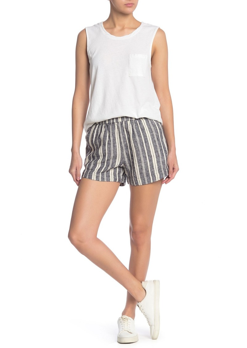 Splendid Pier Stripe Print Linen Blend Shorts
