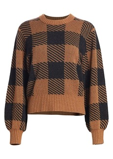 Splendid Plaid Stretch-Cashmere Puff-Sleeve Sweater