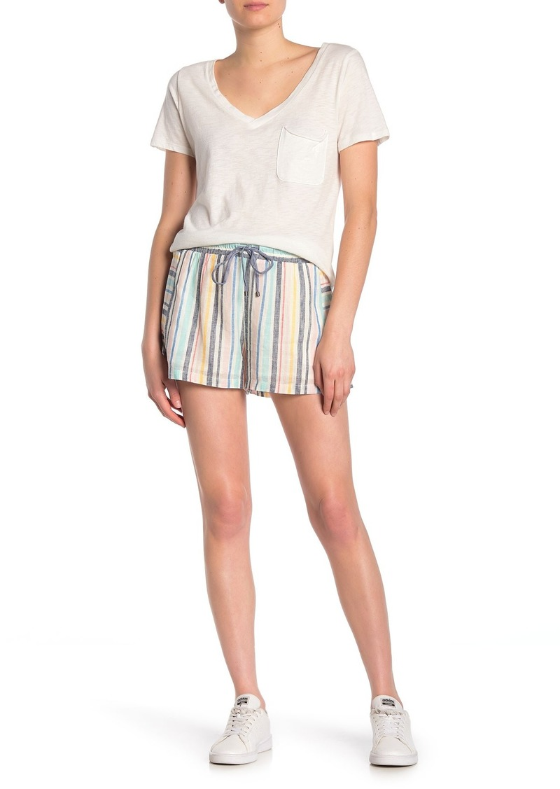 Splendid Playa Stripe Linen Blend Drawstring Shorts