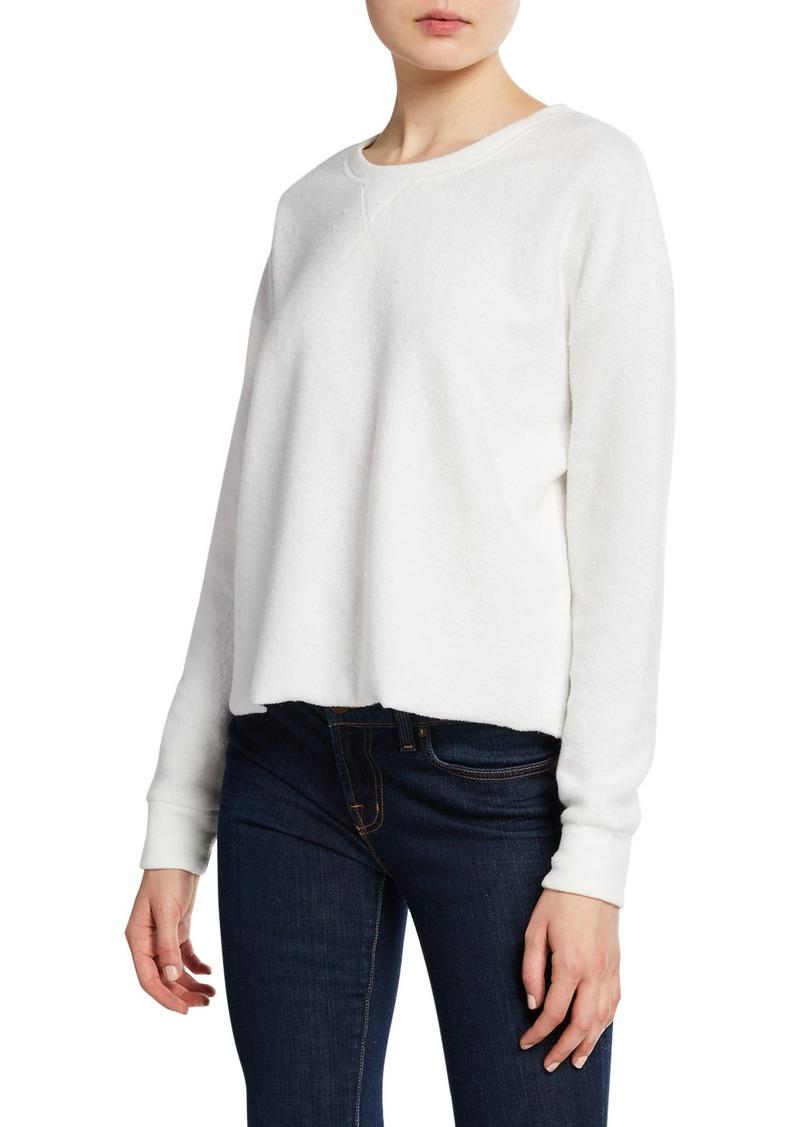 Splendid Plush Crewneck Raw-Edge Sweatshirt