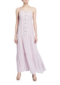 Splendid Promenade Striped Button-Front Tiered Maxi Dress