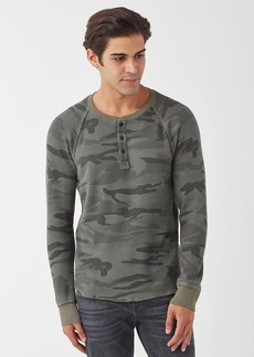 Splendid Salt Point Waffle Knit Henley Camo