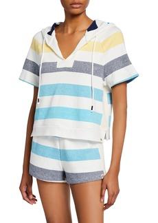 Splendid Shoreline Striped Short-Sleeve Pullover Hoodie