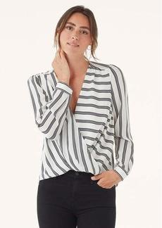 Splendid Silk Stripe Surplice Long Sleeve Top
