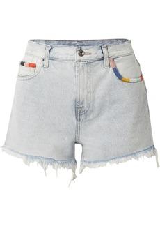 Splendid Margherita Amore Embroidered Frayed Denim Shorts