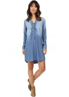 Splendid Adelise Indigo Lace-Up Shirtdress