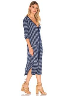 Splendid Alline Stripe Loose Knit Long Sleeve Button Up Dress