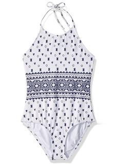 Splendid Big Girls' Boarder Stripe High Neck One Piece Swimsuit