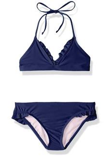Splendid Big Girls' Color Blocked Banded Triangle Bra Ruffle Pant Set