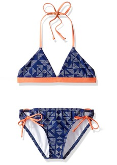 Splendid Big Girls' Deckhouse Geo Reversible Triangle Top and Tunnel Pant Swimsuit Set