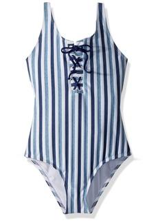 Splendid Big Girls' Tie Dye Stripe One Piece Swimsuit