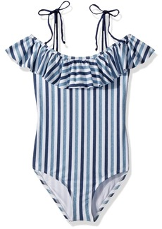Splendid Big Girls' Tie Dye Stripe Ruffle One Piece Swimsuit