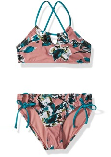 Splendid Big Girls' Watercolor Floral High Neck Bra and Tunnel Pant Set