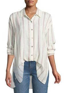Splendid Button-Down Sailboat-Stripe Boyfriend Shirt