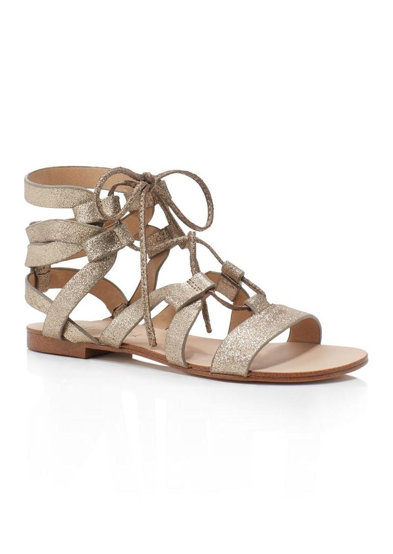 1e54c9f9d111 Splendid Splendid Cameron Metallic Gladiator Lace Up Flat Sandals ...